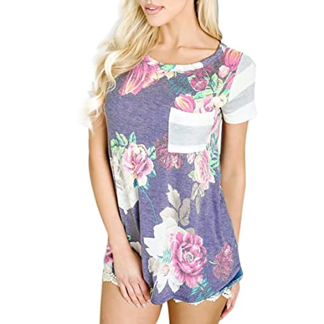 LuckyGirls Camisetas Mujer Manga Corta Floral Estampado Rayas Patchwork Casual Remeras Blusas Camisas (S,
