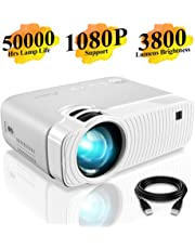 """Mini Projector, ELEPHAS 3300 Lumens Portable Projector Max 180"""" Display 50000 Hours Lamp Life LED Video Projector Support 1080P, Compatible with USB/HD/SD/AV/VGA for Home Theater (White)"""