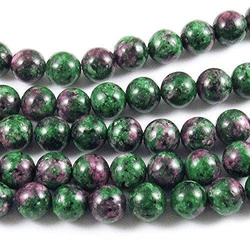 "Round Gemstone Beads-Green Ruby Zoisite 8mm 15"" strand (47)"