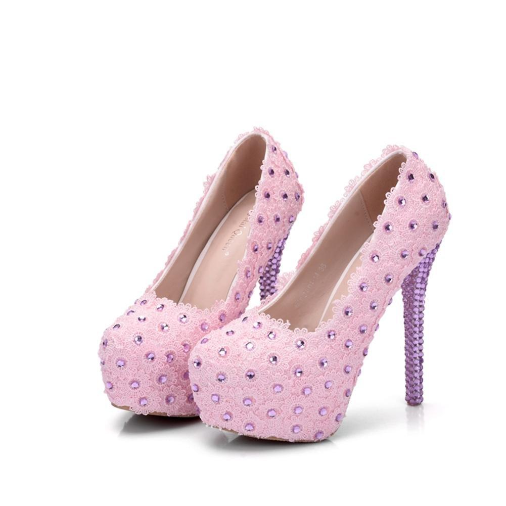 NVXIE Hochzeit Braut Schuhe Schuhe Schuhe Frau Pumps Geschlossen Zehe Plattform Hoch Hacke Strass Abschlussball Abend Gericht Schuhe ed1d52