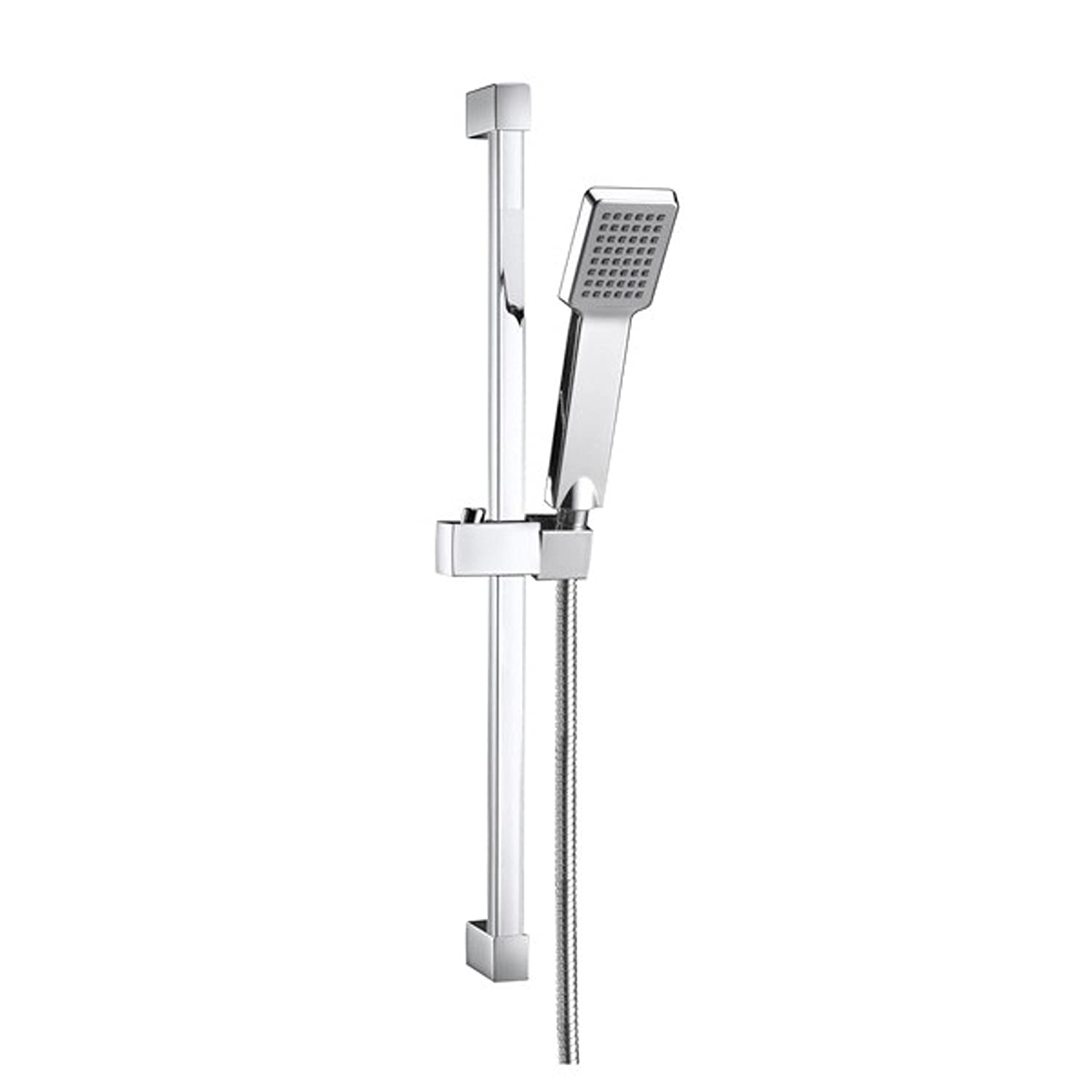 ENKI Square Design Shower Slider Riser Rail Kit with Shower Head and Hose