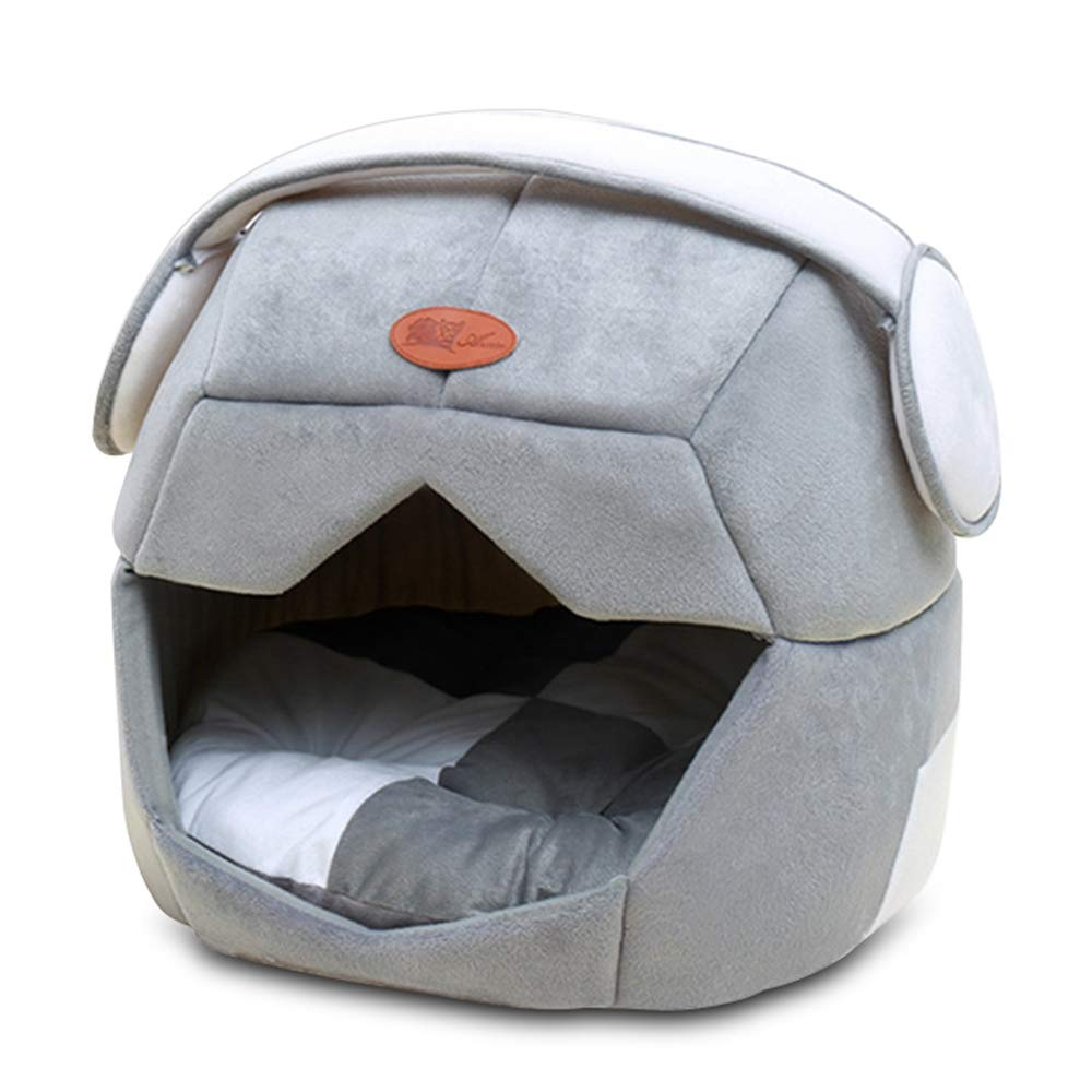 Grey 49x43cm grey 49x43cm Cookisn Pet Nest 2 Uses Foldable Soft Warm Space Helmet Pet Cat Dog Bed for Dogs Cave Puppy Sleeping Mat Pad Nest Blanket for Cats House Grey 49x43cm