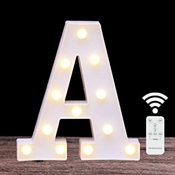 LED Marquee Letter Lights 26 Alphabet Light Up Initial Name Sign Remote Control Letter Lamp for Wall Wedding Birthday Party Christmas Bar Decore(Letter A-Remote Control)