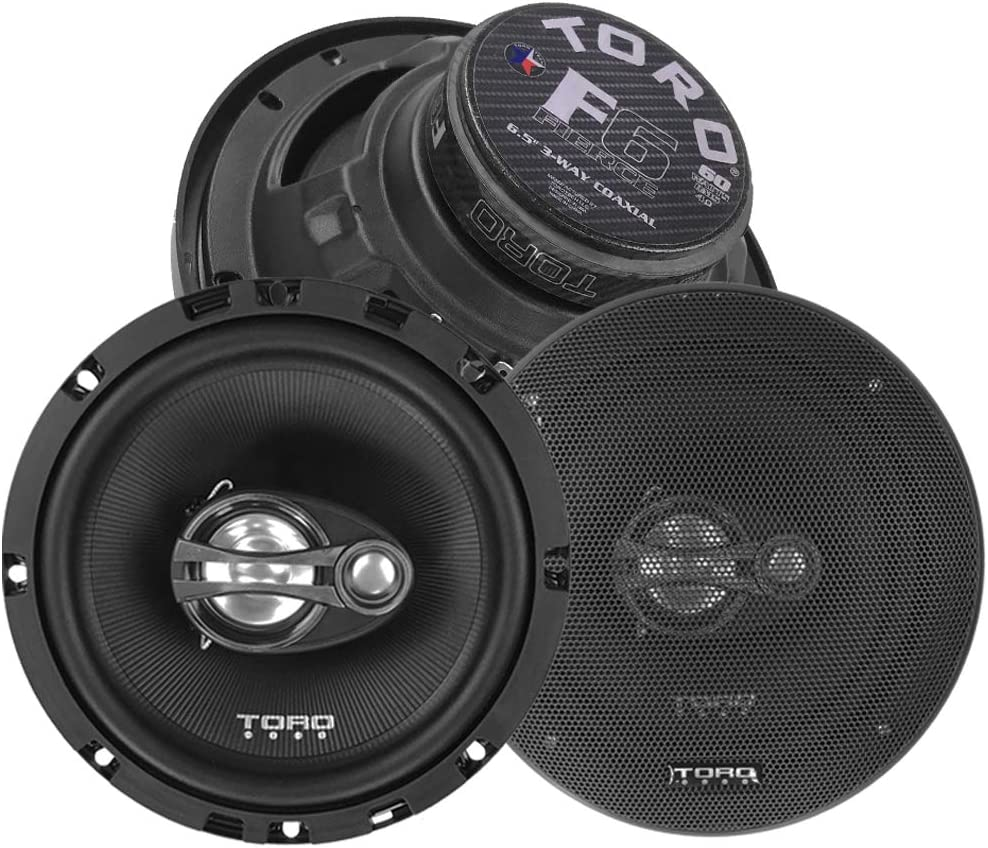 """6.5 Inch 3-Way Coaxial Car Speaker Set Ferro Fluid Tweeters 120 Watt MAX // 60 Watts RMS 1/"""" KSV Voice Coils TORO TECH 4 Ohm F6 Two Speaker Set."""
