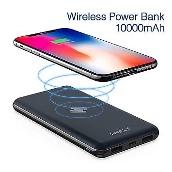 iWALK Qi Cargador Inalámbrico Power Bank 10000mAh Doble PD QC Puerto Batería Externa Portátil Carga con tecnología Inteligente para Kompatibel mit ...