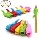 Pencil Grips for Kids,Firesara 10 Pcs Silicon Ergonomic Fish Style and colored Pen Training Grip Holder Handwriting Claw and Aid For children or Kindergarten or toddler or Adults or Lefties