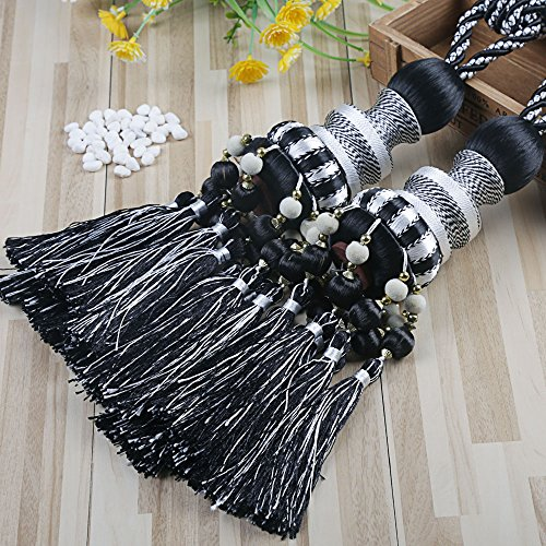 (KISENG 1 Pair Beaded Tassels Curtain Tiebacks Rope Holdbacks for Bedroom (J Black))