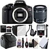Canon EOS Rebel T6i 24.2MP Digital SLR Camera with 18-55mm EF-IS STM Lens , SF-4000 Slave Flash and Accessory Bundle