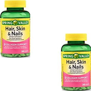 Spring Valley Hair Skin Nails Over 20 Ingredients Including Biotin And Collagen 240 Caplets 2 Pack