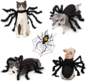 Idepet Pet Dog Halloween Spider Costume 8 Spider Wing Cosplay Clothes for Small Medium Dogs Puppy Cat Kitten Outfits Dress up Party Hoilday Costume Decoration Hair Accessories