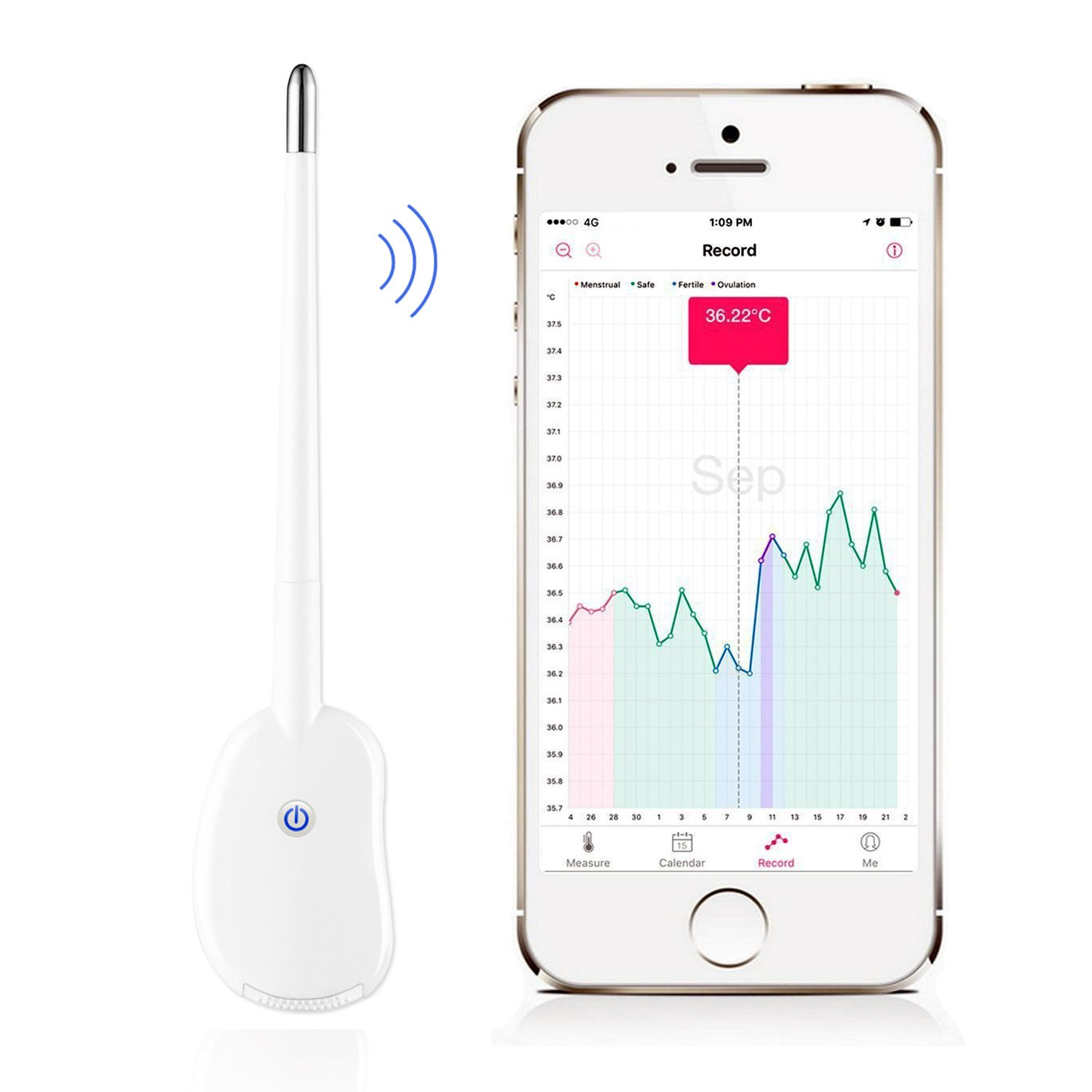 Smart Period Tracker Fertility Monitor, Basal Body Temperature Thermometer (BBT) Accurate Ovulation Prediction, Bluetooth Oral Basal Thermometer for apple and Android
