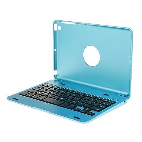 Cubierta Caja del Teclado Bluetooth Inalámbrico de Aluminio para iPad Mini 1 2 3 4 Azul