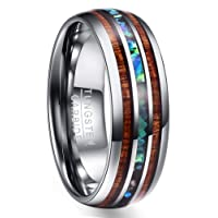 NUNCAD 8mm Tungsten Carbide Ring Abalone Shell and Hawaiian Koa Wood Wedding Band for Men Women Comfort Fit Size H½-Z+5