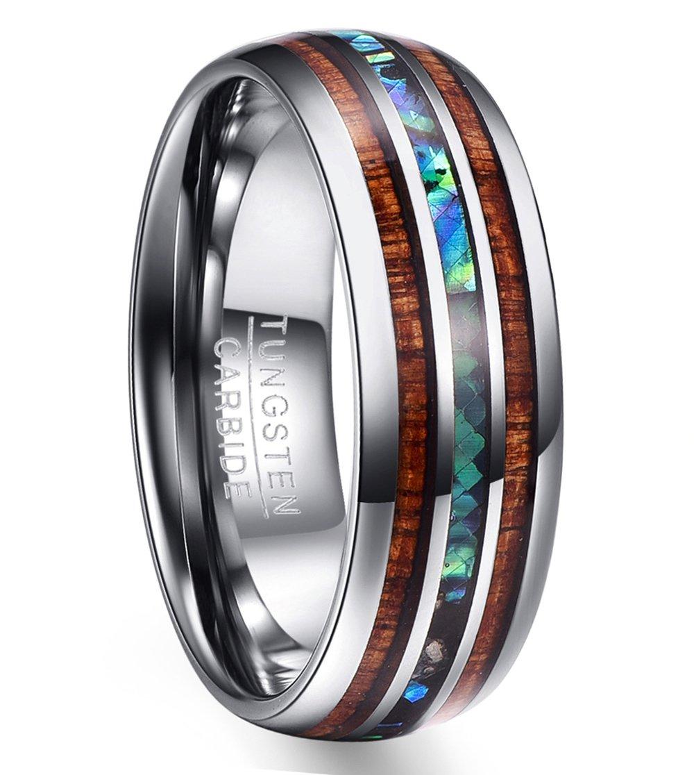 Vakki 8mm Hawaiian Koa Wood and Abalone Shell Tungsten Carbide Rings Wedding Bands for Men Comfort Fit Size 16