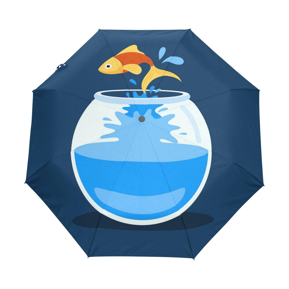 Senya Saobao防風と防雨トラベル傘with自動開いて閉じFolding Goldfish Jumpingポータブル折りたたみ式太陽雨傘 B07FD3WNPN
