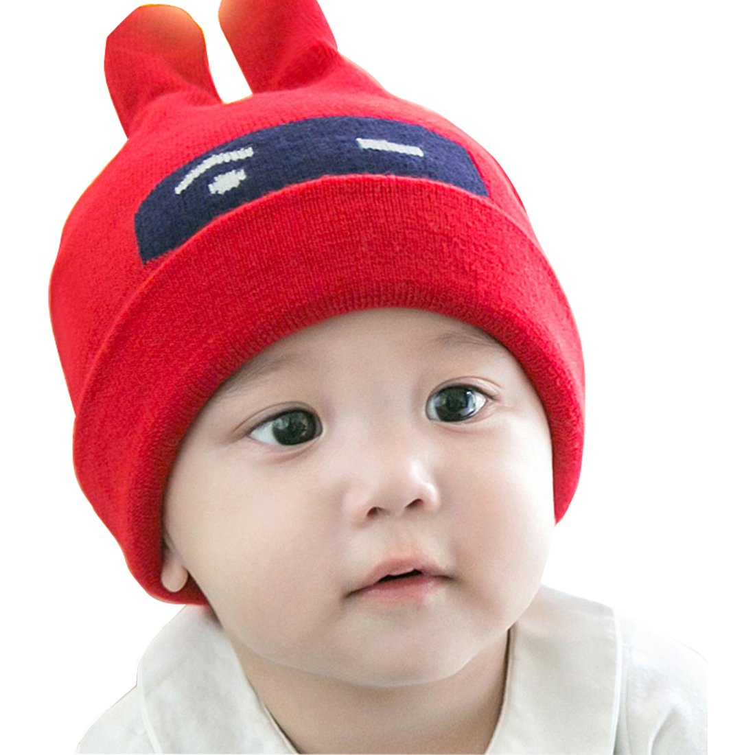 LAROK WAZZIT Cutest Bunny Ears Winter Baby Beanies Cap Warm Knit Hat Eyes Printed Warmer Wool Hemming for Kids 0-5 Years