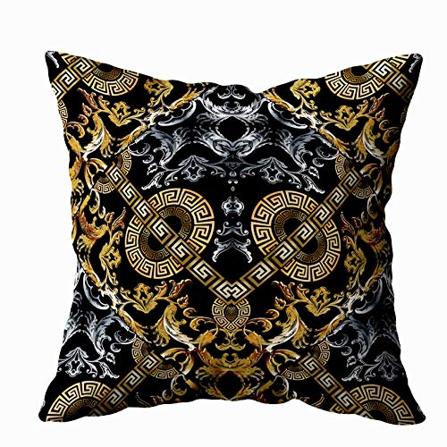 EMMTEEY Body Pillow Case, 20x20 Pillow Covers Home Throw Pillow Covers for Sofa Pattern Greek Key Band Design Fabric Fret Ornamental primeval Print Surface Textile Weave Square Double Sided Printing