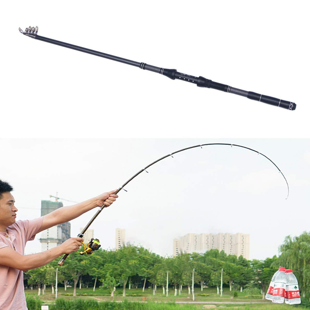 LIOOBO 2.1 Metros Universal Spinning Rod Fibra de Carbono Ca/ña de Pescar Pesca Telesc/ópica Marching Fishing Rod Ultrashort Fishing Tackle