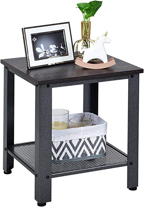 1, Rustic Brown Metal Frame and Storage Shelf Narrow Nightstand for Living Room Giantex End Table Telephone Industrial Table 2-Tier W//Adjustable Feet Bedroom Accent Furniture Sofa SideTable