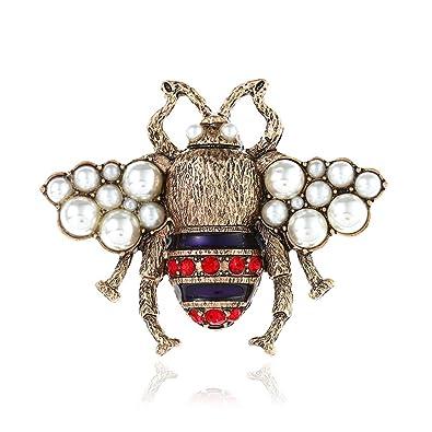 399072fff1a Ophlid Fashion Bee Brooch Pins with Peal, Designer Brooch Pins, Wedding  Small Rhinestone Brooch
