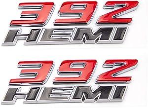 CARRUN 2pcs Car Emblem For OEM 392 Hemi Emblem Fender Side Badge Sticker Replacement for Challenger Chrysler 300c 3500 (Black and Red)