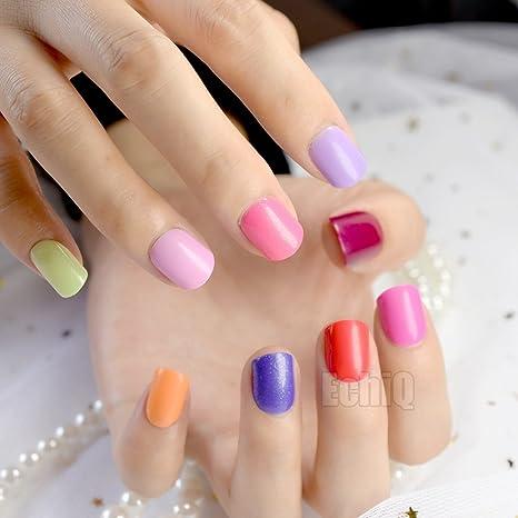 EchiQ - Puntas de uñas postizas de color caramelo, 240 piezas, cortas, con