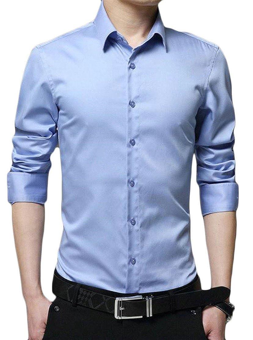 Pcutrone Mens Long Sleeve Business Lapel Neck Plain Button Down Shirts