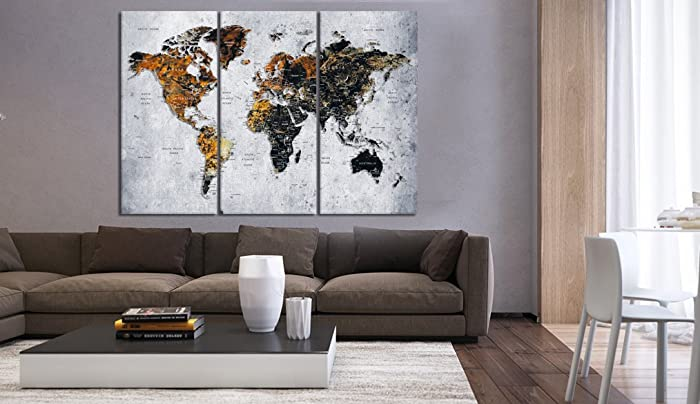 Amazoncom Large Set Of Pieces Push Pin World Map Canvas Print - Old world map wall art in blue