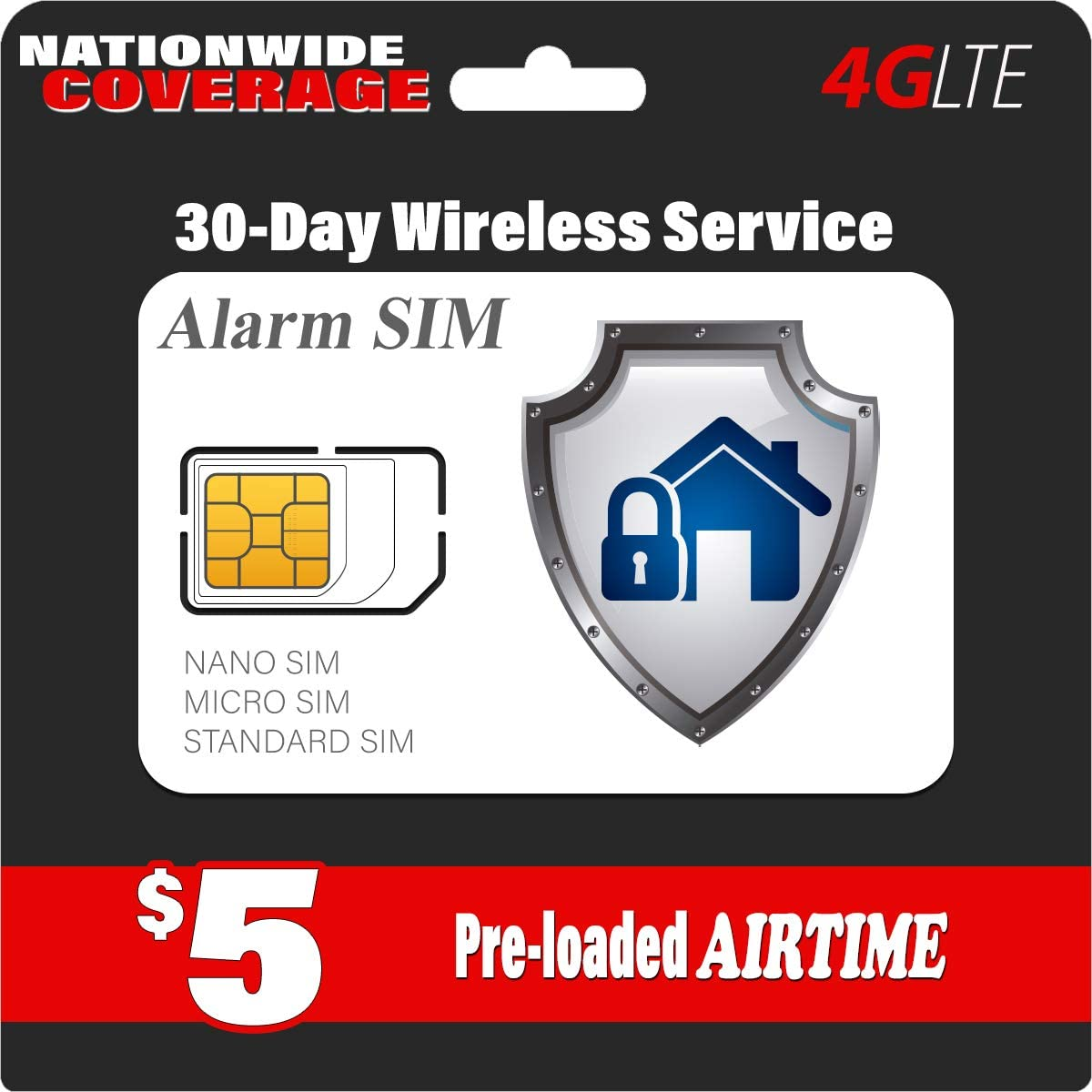 $5 Alarm SIM Card for GSM Business and Home Security Alarm System