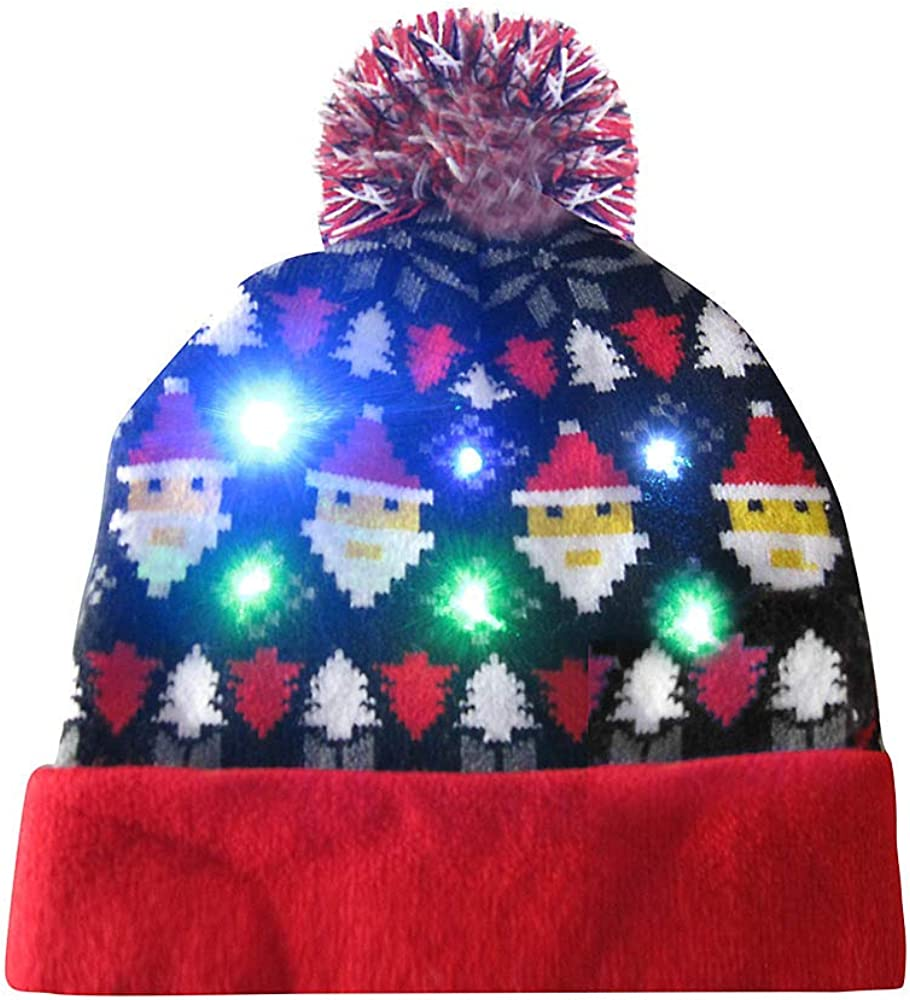 Pom Pom Beanie Hats for Men Pug Puppy Face Bobble Hats Embroidered Animal Face Knitted Wooly Hat One Size Fits All Beanie Hat
