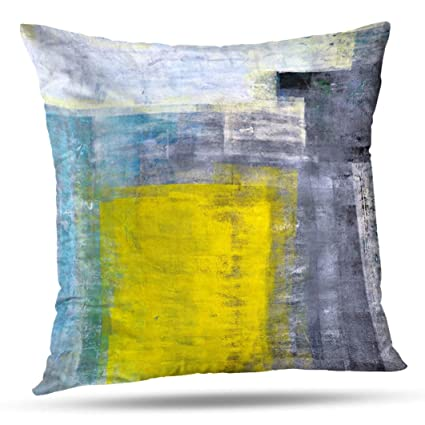Alricc Teal Grey and Yellow Art Modern Contemporary Office Wall Decorative  Throw Pillows Cushion Cover for Bedroom Sofa Living Room 18X18 Inches