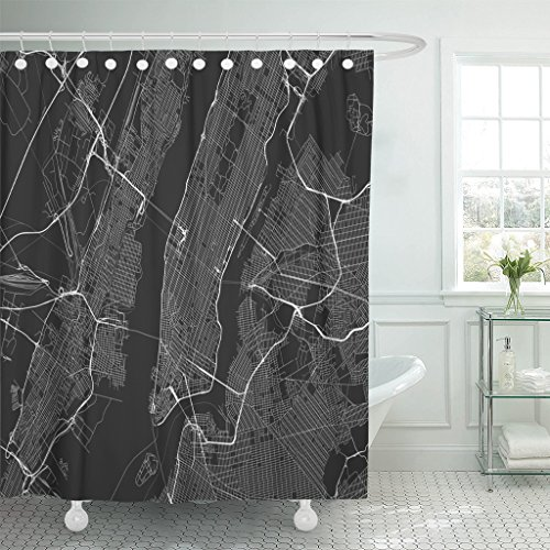 (VaryHome Shower Curtain Gray Black with All Streets of New York and Surroundings Map City Manhattan Waterproof Polyester Fabric 72 x 78 Inches Set with Hooks)