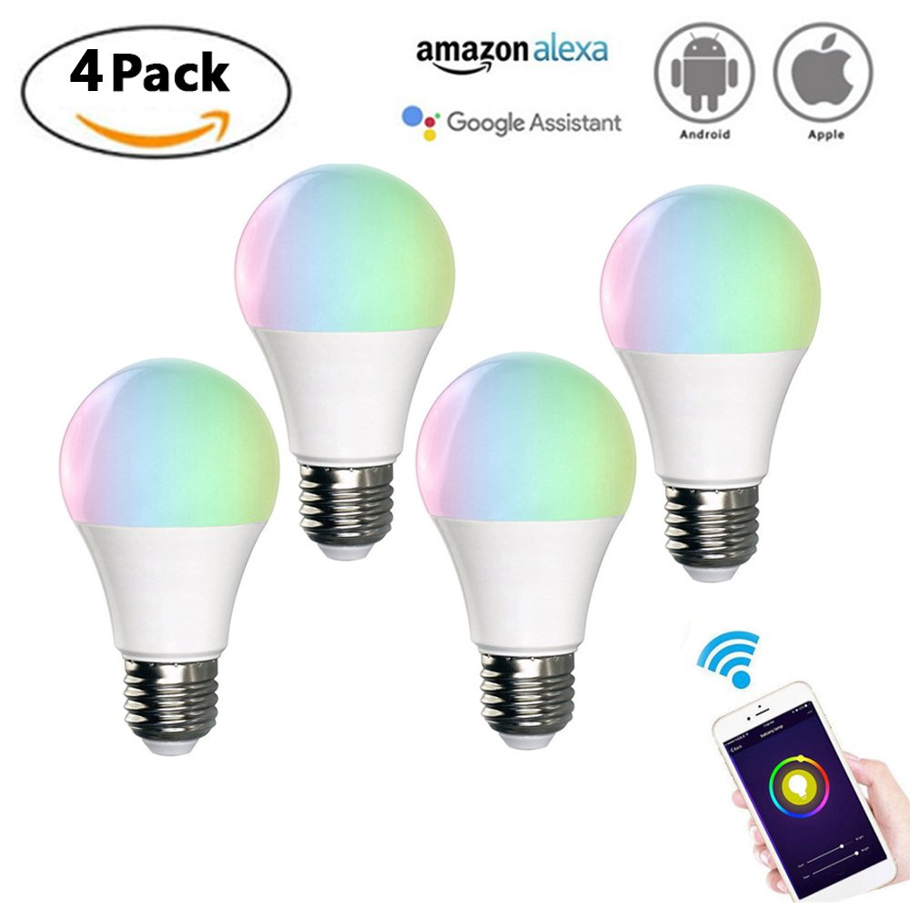 CLDGF 4 Pack Smart Light LED-Glühbirne Sprachsteuerung Wireless Wifi RGB 7W Energiesparende Dimmlampe (E27, E26, B22),E26
