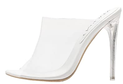 f93be67f6 Image Unavailable. Image not available for. Color: Mackin J 213-84 Lucite  Clear PVC Mules Slip On Open Toe Stiletto Heel Pumps