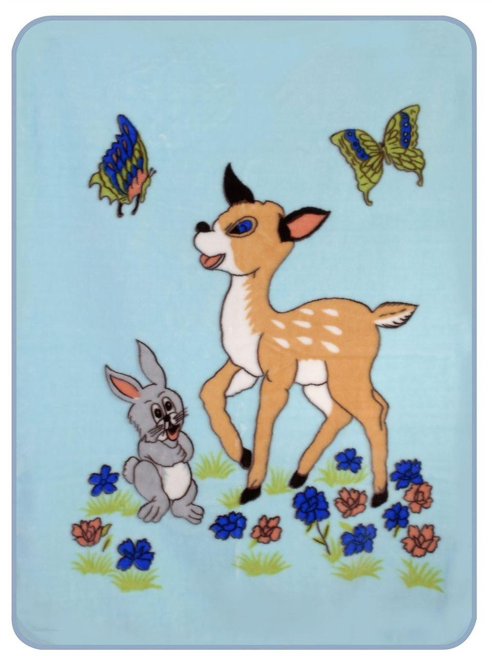 フォレストフレンズ ウサギと赤ちゃん 鹿 フェイクファー 男の子 ブルー ベビーベッド スローブランケット - 40インチ X 50インチ   B010LYDSV2