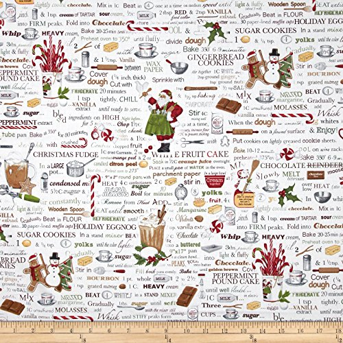 Holly Jolly Christmas Words Antique White Fabric By The (Christmas Fabric)