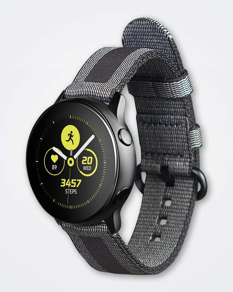 Strap Studio Made for Samsung Galaxy Watch Active Compatible Handcrafted Easy Change Band (2019): Active Textile Black