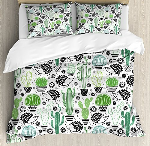 Ambesonne Cactus Duvet Cover Set Queen Size, Cartoon Style Inspired Drawing of Hedgehog Animals Saguaro and Prickly Pear, Decorative 3 Piece Bedding Set with 2 Pillow Shams, White Green ()