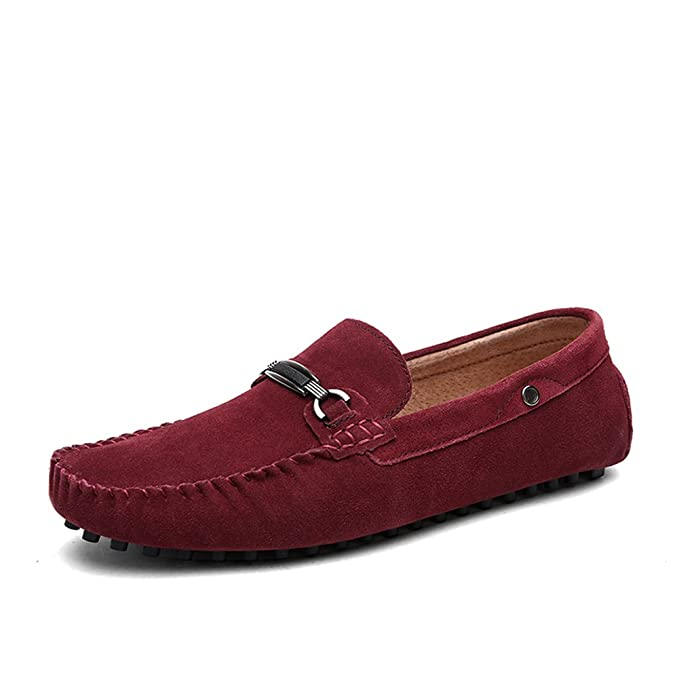 Zapato de los hombres, verano otoño cuero cómodos mocasines zapatos de moda barco zapato suave zapatos planos ligero caminar zapato redondo dedo del pie,Red ...