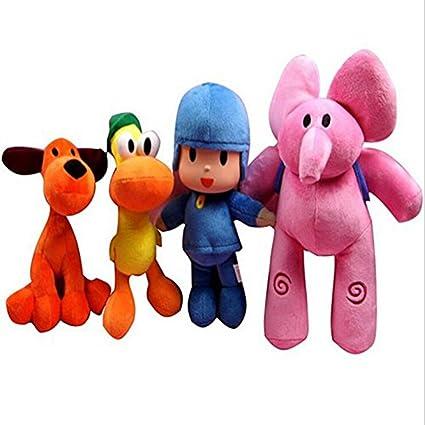4pc Pocoyo Elly Pato Loula Pocoyo Dog Duck Elephant Stuffed Plush Toys Gift