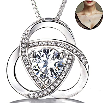 389f9bbd0 Necklace for Women,925 Sterling Silver Necklace for Women Ladies Jewellery  Christmas Gifts Cubic Zirconia Allergen-free Nickel Free Passed SGS Test  18+2 ...