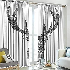 SUZM Antlers Decor Room Darkening Panels, Patterned Deer Head with Big Antlers Ornamental Monochromic Illustration, Locker Curtains W120 x L96 Inch,