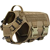 ICEFANG Tactical Dog Harness ,Hook and Loop Panels for Patch,Working Dog MOLLE Vest with Handle,No Pulling Front Leash Clip,6