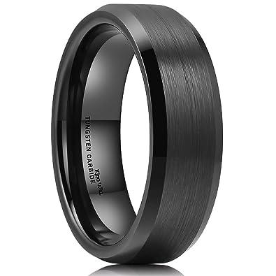King Will Basic 7mm Men Black Tungsten Carbide Wedding Ring Brushed Finish Beveled Polished Edge