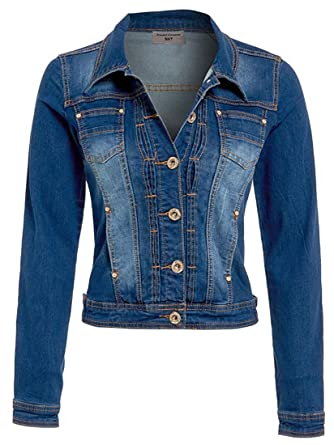 NEUF pour Femmes Veste en jeans délavé Moyen Bleu Taille S XXL