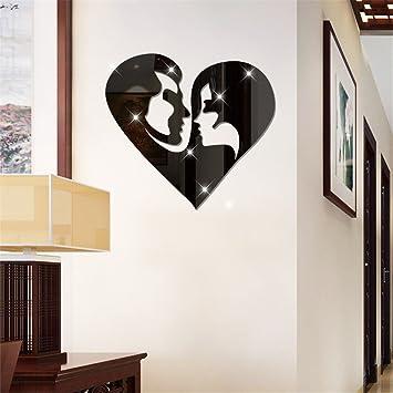 Acryl Spiegel Männer Und Frauen Lieben Sticker Schlafzimmer Wohnzimmer  Dekoration Wand Aufkleber, Schwarz
