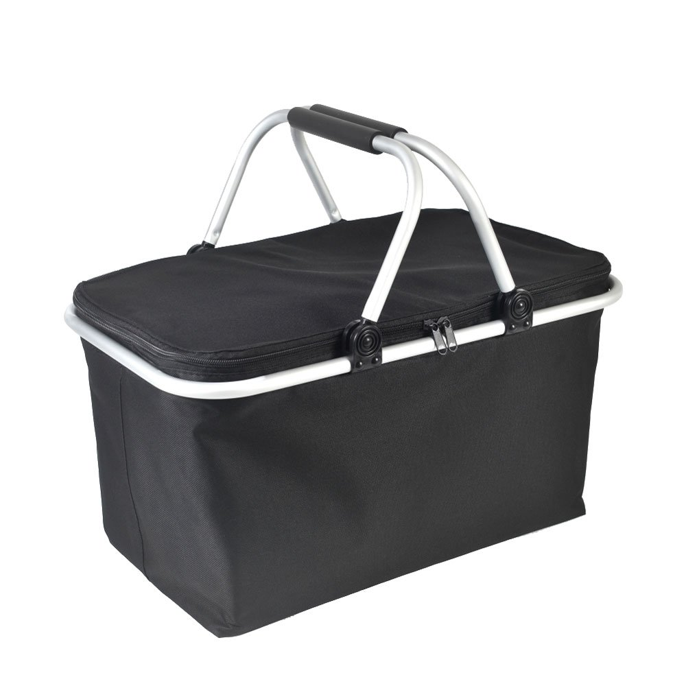 GGK-Outdoor-Folding -Waterproof -Picnic Ice Bag Insulated Picnic Basket - Strong Aluminum Frame (Black) by GGK