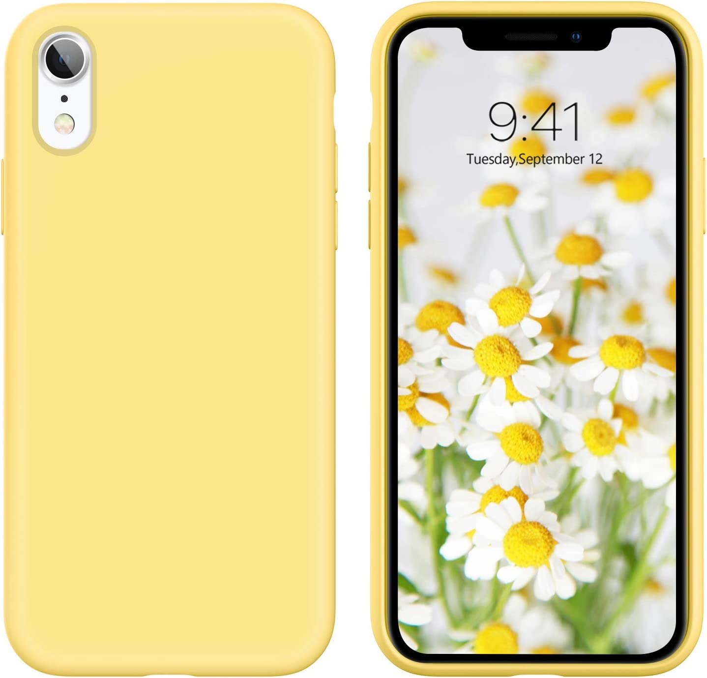 DUEDUE iPhone XR Case, Liquid Silicone Soft Gel Rubber Slim Cover with Microfiber Cloth Lining Cushion Shockproof Full Protective Anti Scratch Case for iPhone XR 6.1