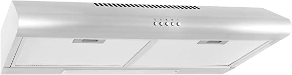 Cosmo 5MU30 30-in Under-Cabinet Range Hood 200-CFM | Ducted/ Ductless Convertible Top/ Rear Duct