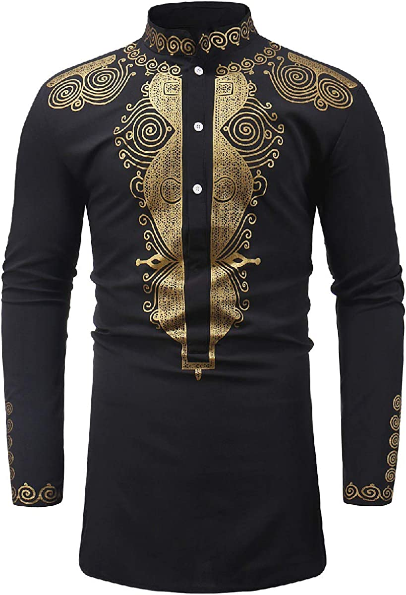Winwinus Men Casual Long-Sleeve African Mid-Long Dashiki Floral Printed Shirt